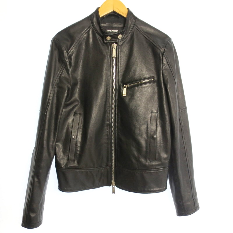 【中古】DSQUARED2 ディースクエアード シングルレザーライダースジャケット サイズ:46 カラー:ブラック / インポート【f108】