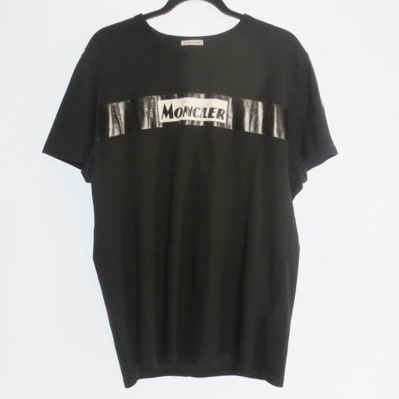 【期間限定】ポイント20倍【中古】MONCLER モンクレール ラインロゴ 半袖 Tシャツ サイズ:XXL カラー:ブラック / インポート【f108】