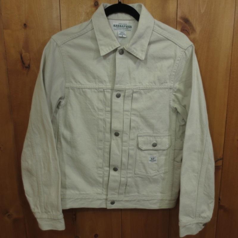 【中古】SASSAFRAS/ササフラス デニムジャケット サイズ:S カラー:ホワイト系 / セレクト【f091】
