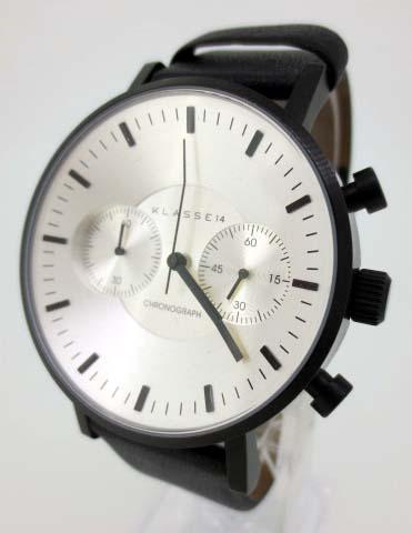 【中古】KLASSE14/クラス14 Volare/ヴォラーレ クロノグラフ 腕時計 リストウォッチ VO15CH003M シルバー×ブラック クォーツ 革(レザー)ベルト