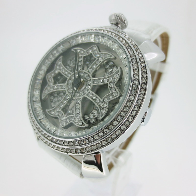 【中古】BROOKIANA ブルッキアーナ 腕時計 リストウォッチ BA-2312 シルバー系×ホワイト系 クォーツ 革(レザー)ベルト【f131】