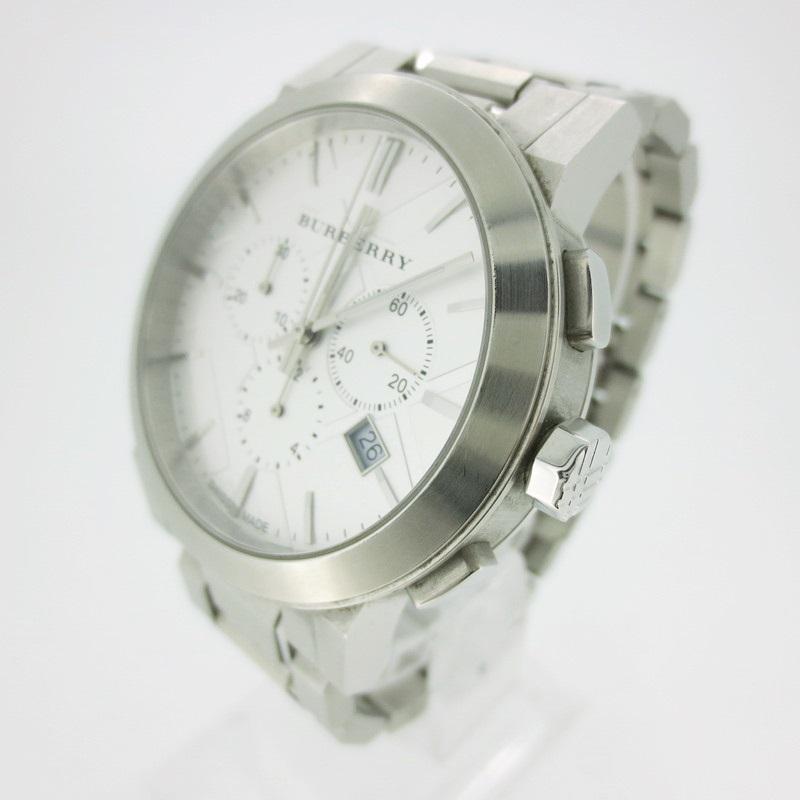 【中古】BURBERRY バーバリー 腕時計 リストウォッチ BU9350 ホワイト系×シルバー クォーツ その他ベルト【f131】