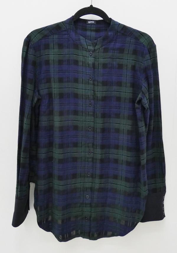 【中古】JIL SANDER/ジルサンダー チェックバンドカラーシャツ サイズ:44 カラー:ネイビー×グリーン / インポート【f112】