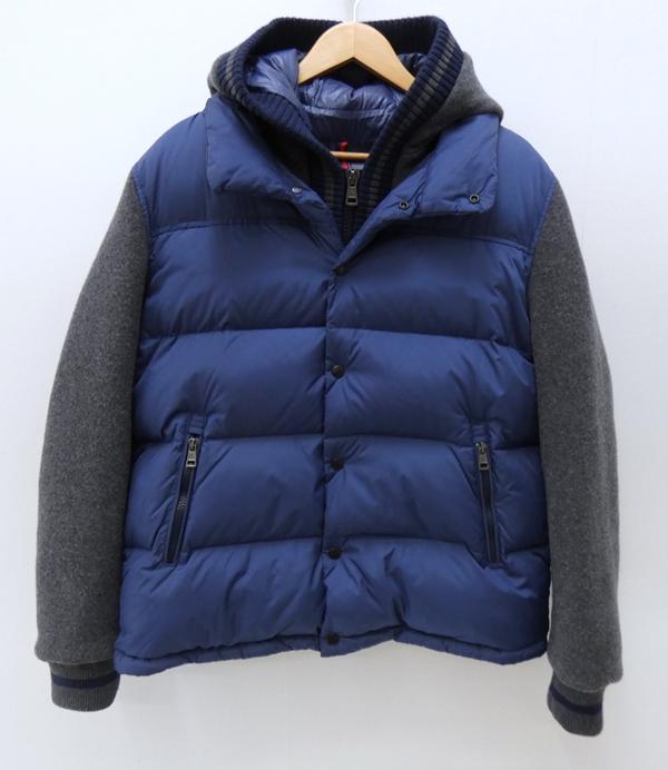 【中古】MONCLER/モンクレール GHISLAIN 並行品袖切替ダウンジャケット サイズ:5 カラー:ブルー×グレー【f108】