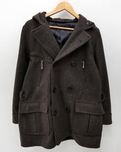 【中古】dapper's/ダッパーズ フード付ウールPコート サイズ:38 カラー:ブラウン / ドメス【f104】