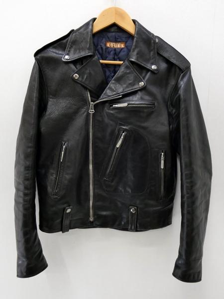 【中古】EQUUS/エクウス レザーダブルライダースジャケット サイズ:- カラー:ブラック / アメカジ【f093】