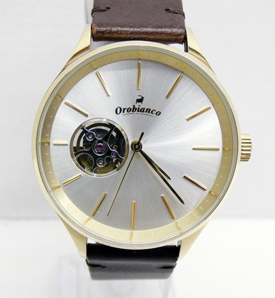 【中古】Orobianco/オロビアンコ 腕時計 シルバー×ブラウン 自動巻き(オートマチック) ラバーベルト【f131】