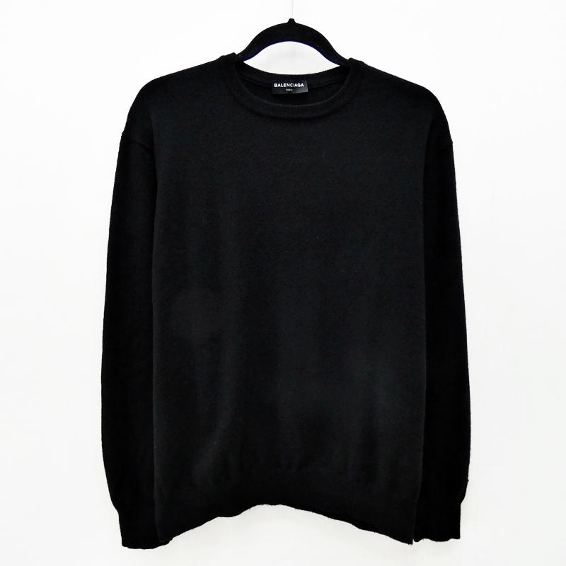 【中古】BALENCIAGA/バレンシアガ 485645 クルーネックニット L/Sニット サイズ:L カラー:ブラック【f135】