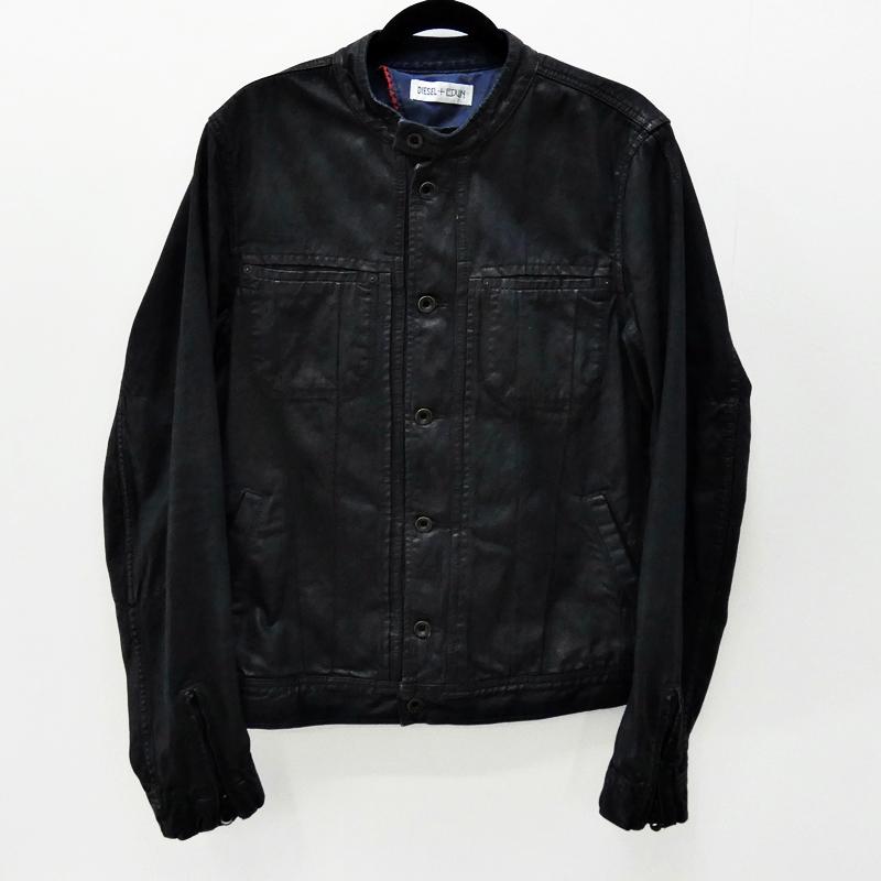 【中古】DIESEL/ディーゼル DIESEL+EDUNコレクションコーティングデニムジャケット サイズ:L カラー:ブラック / インポート【f094】