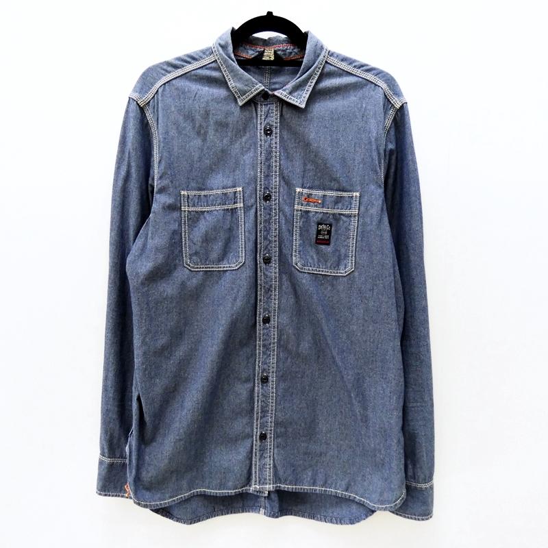【中古】DIESEL/ディーゼル L/Sダンガリーシャツ サイズ:XL カラー:ブルー / インポート【f101】