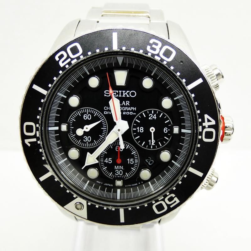 【中古】SEIKO/セイコー 腕時計 ダイバーズ ブラック×シルバー ソーラー ステンレススティールベルト【f131】