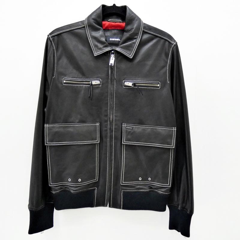 【中古】DIESEL/ディーゼル 2017F/W L-BOOM シングルレザーライダースジャケット サイズ:M カラー:ブラック / インポート【f094】