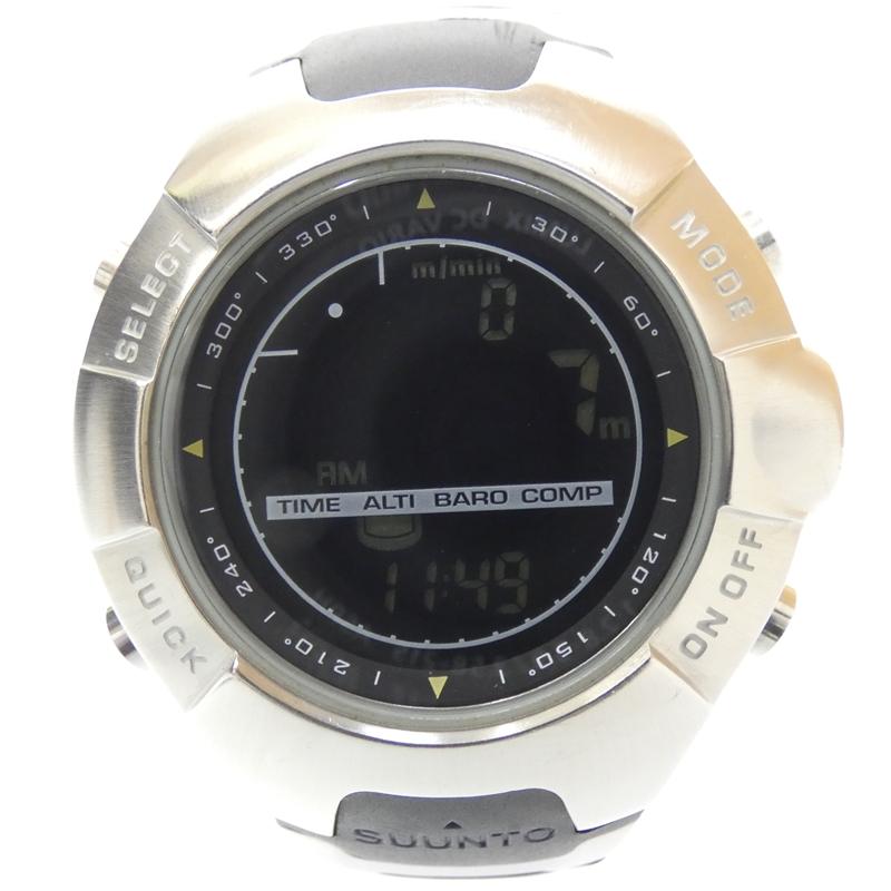【中古】SUUNTO/スント 腕時計 OBSERVER オブザーバー ブラック×ブラック×シルバー クォーツ ステンレススティール×その他ベルト【f131】
