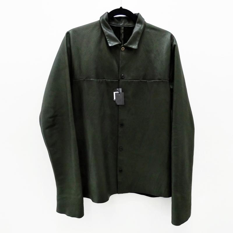 【中古】m.a+/エムエークロス レザーシャツ サイズ:50 カラー:グリーン【f108】