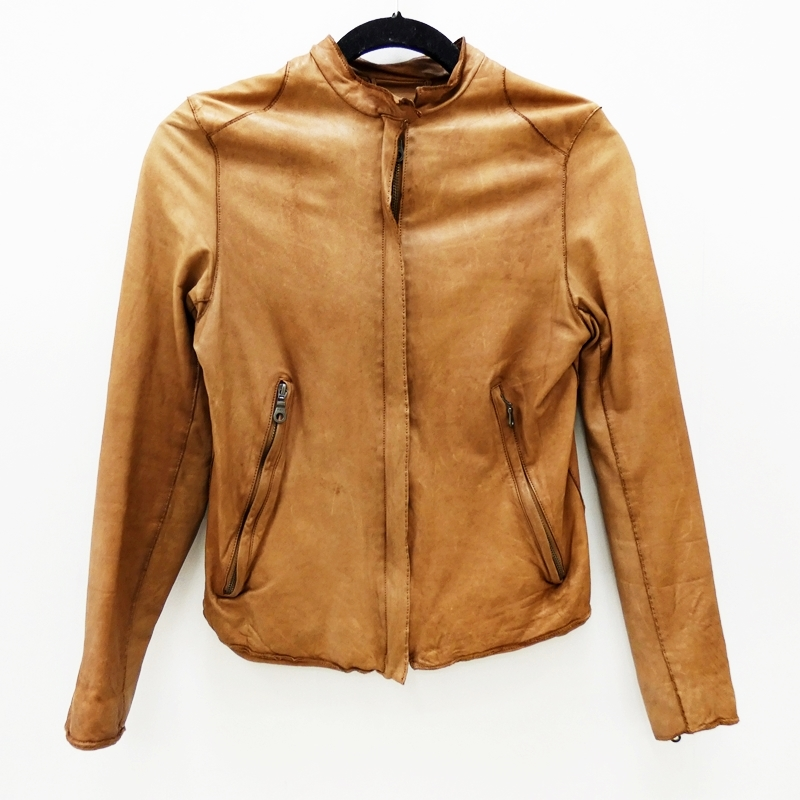 【中古】Sisii/シシ シングルレザーライダースジャケット サイズ:XS カラー:ブラウン / ドメス【f111】