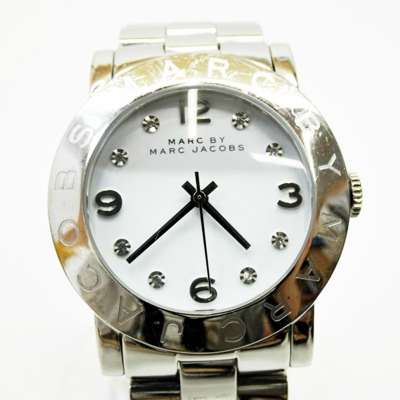 【中古】MARC BY MARC JACOBS/マークバイマークジェイコブス 腕時計 MBM3054 ホワイト×シルバー クォーツ ステンレススティールベルト【f131】