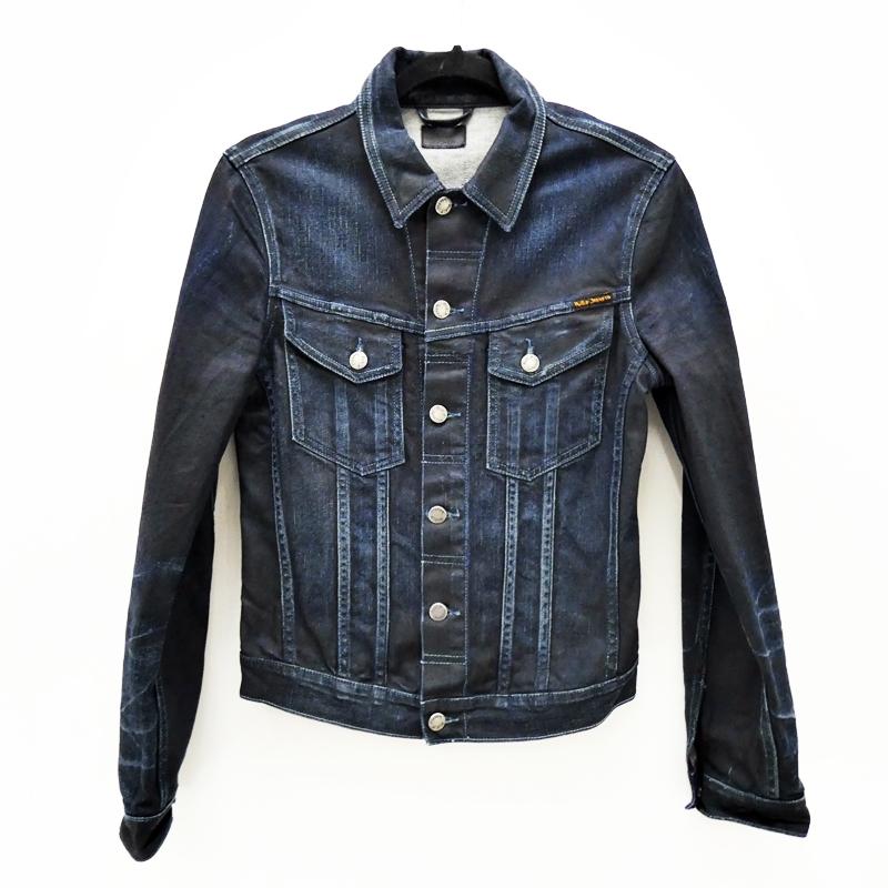 【中古】Nudie Jeans/ヌーディージーンズ PERRY コーティングデニムトラッカージャケット サイズ:XS カラー:ネイビー / インポート【f094】