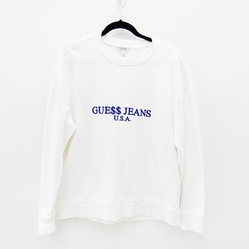 【中古】GUESS/ゲス A$AP Rocky USA SWEATSHIRTクルーネックスウェット サイズ:S カラー:ホワイト / インポート【f102】