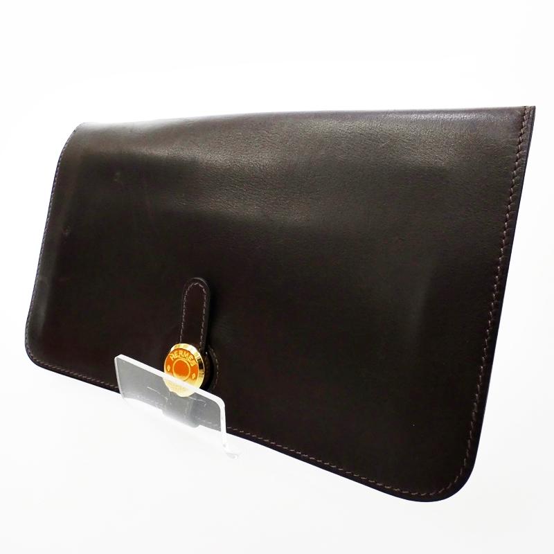 【中古】HERMES/エルメス エヴァーカーフ ドゴンGM 二つ折り長財布【f125】