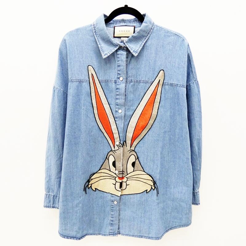【中古】GUCCI/グッチ 519932 バッグス・バニー デニムシャツ サイズ:46 カラー:ブルー【f135】