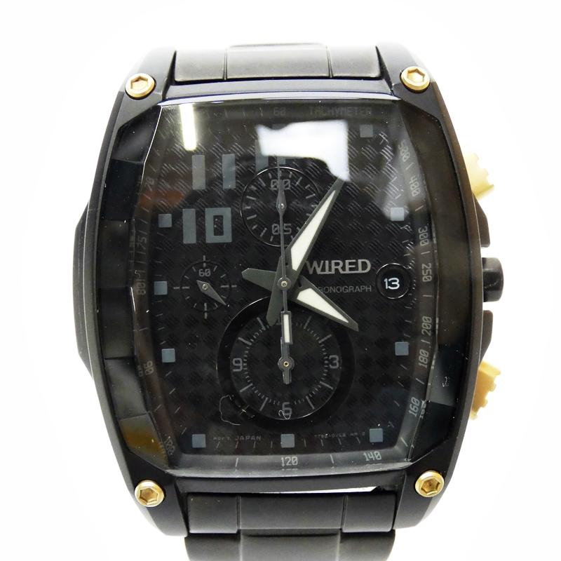 【中古】WIRED×METAL GEAR RISING/ワイアード×メタルギアライジング 腕時計 - ブラック×ブラック クォーツ その他ベルト【f131】