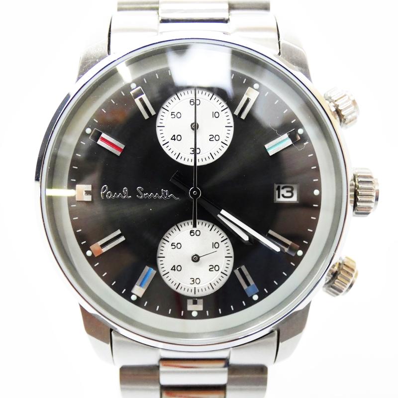 【中古】Paul Smith/ポールスミス 腕時計 BLOCK ブラック×シルバー クォーツ ステンレススティールベルト【f131】