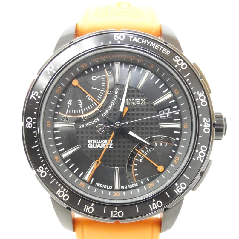 【中古】TIMEX/タイメックス 腕時計 インテリジェントクオーツ ブラック×オレンジ クォーツ ラバーベルト 【f131】