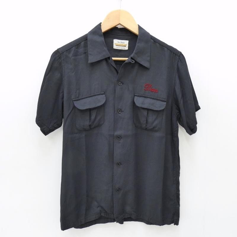 【中古】RUDE GALLERY BLACK REBEL/ルードギャラリーブラックレーベル S/S刺繍ボウリングシャツ サイズ:L カラー:ブラック / ルード【f104】