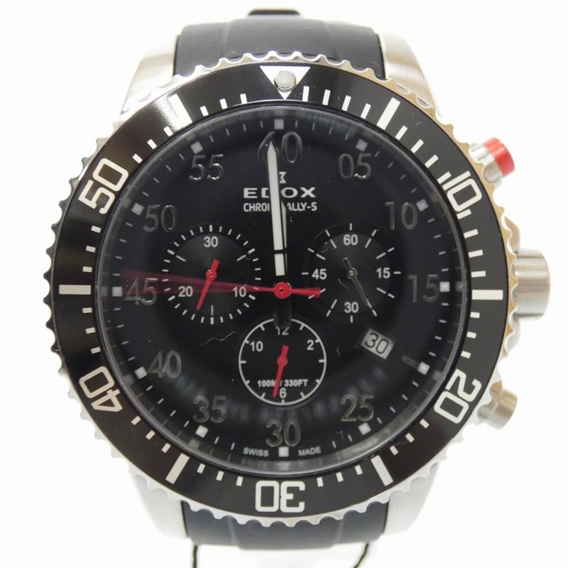 【中古】EDOX/エドックス 腕時計 CHRONORALLY-S クロノラリーS ブラック×ブラック クォーツ ラバーベルト 【f131】