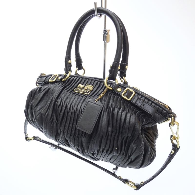 【中古】COACH/コーチ レザーソフィアサッチェル 2Wayハンドバッグ サイズ:- カラー:ブラック【f122】