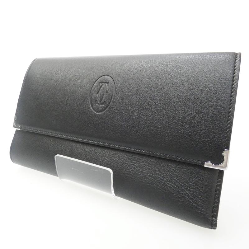 【中古】Cartier/カルティエ 三つ折り長財布 サイズ:- カラー:ブラック【f125】