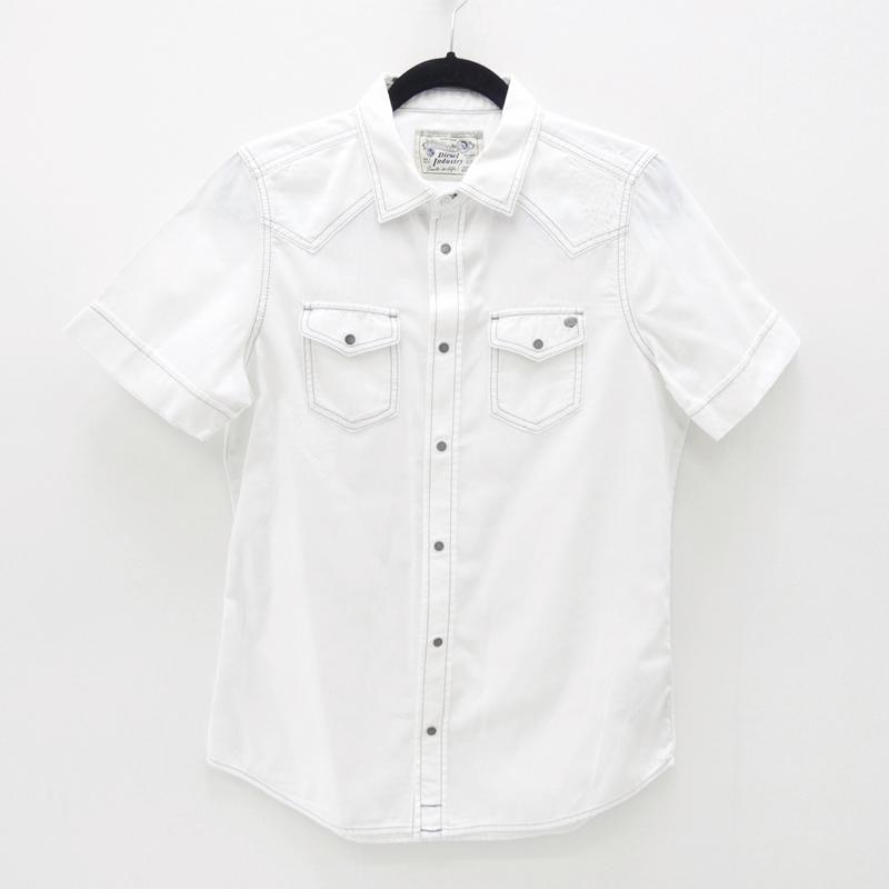 【中古】DIESEL/ディーゼル S/Sリペア加工シャツ サイズ:S カラー:ホワイト / インポート【f102】