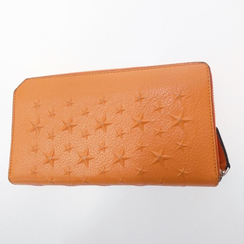 【中古】JIMMY CHOO/ジミーチュウ エンボススター ラウンドファスナー長財布 サイズ:- カラー:オレンジ【f125】