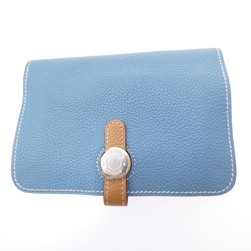 【中古】HERMES/エルメス ドゴン コンパクト 二つ折り財布 サイズ:- カラー:ブルー【f125】