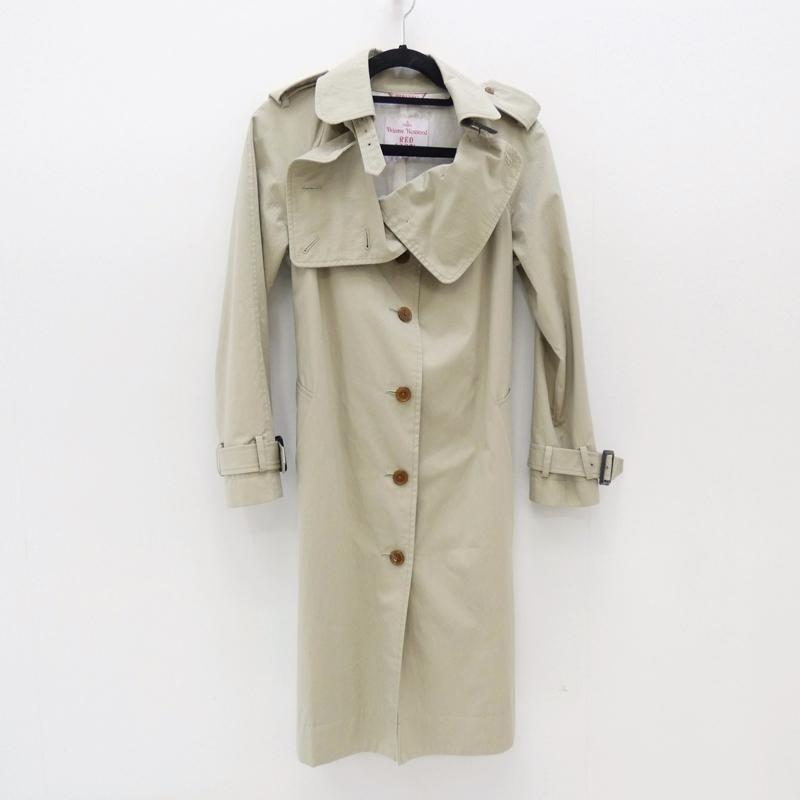 【中古】Vivienne Westwood RED LABEL/ヴィヴィアンウエストウッドレッドレーベル トレンチコート サイズ:2 カラー:ライトカーキ / インポート【f112】