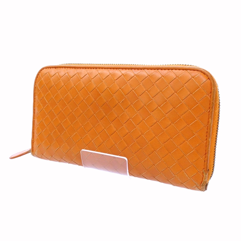 【中古】BOTTEGA VENETA/ボッテガ・ヴェネタ ラウンドファスナー長財布 サイズ:- カラー:オレンジ【f125】