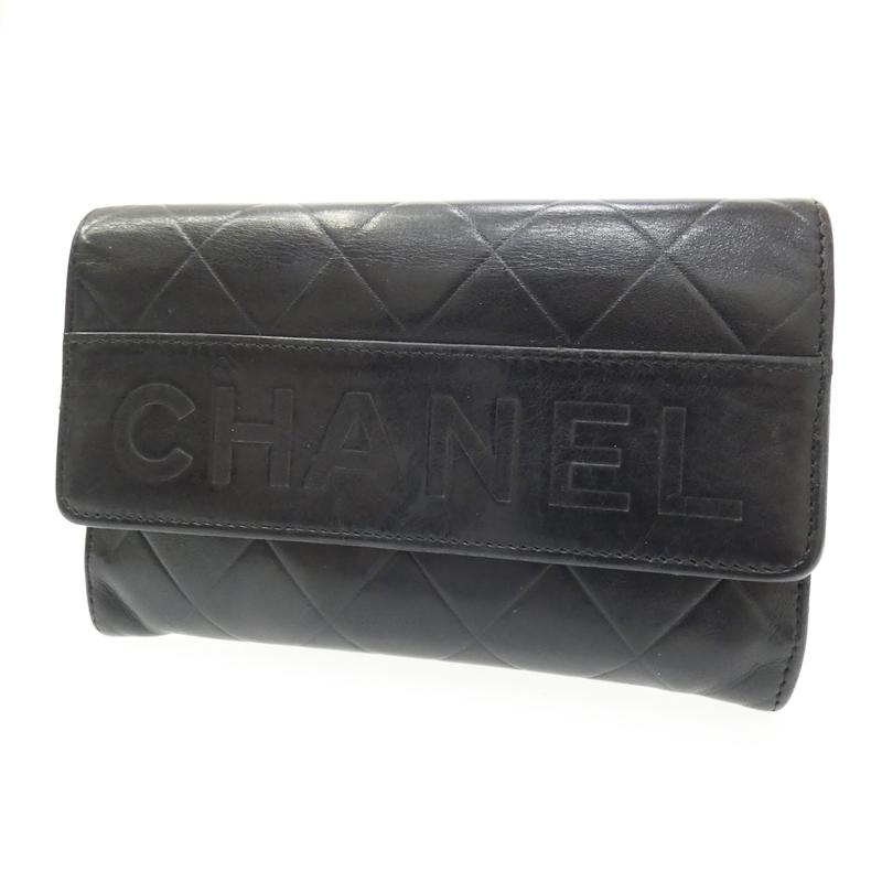 【中古】CHANEL/シャネル 二つ折り財布 サイズ:- カラー:ブラック【f125】
