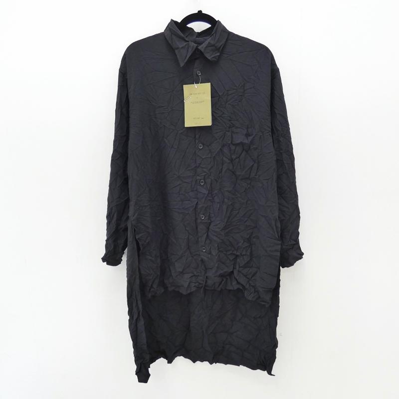 【中古】Yohji Yamamoto/ヨウジヤマモト 2018S/S STAFF SHIRT ツイルシワ加工L/Sロングシャツ サイズ:3 カラー:ブラック【f108】