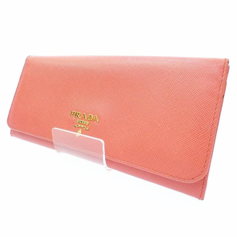 【中古】PRADA/プラダ 二つ折り長財布 サイズ:- カラー:オレンジ【f125】