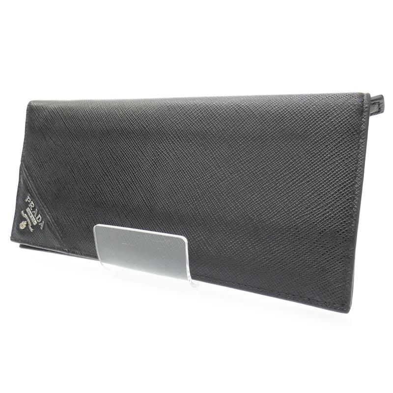 【中古】PRADA/プラダ 二つ折り長財布 サイズ:- カラー:ブラック【f125】