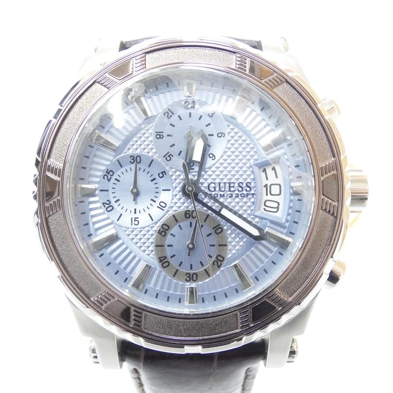 【中古】GUESS/ゲス 腕時計 クォーツ レザーベルト サイズ:- カラー:ブルー(文字盤)×ブラック(ベルト)【f131】