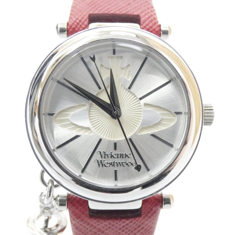 【中古】Vivienne Westwood/ヴィヴィアンウエストウッド 腕時計 クォーツ レザーベルト サイズ:- カラー:ホワイト(文字盤)×レッド(ベルト)【f131】