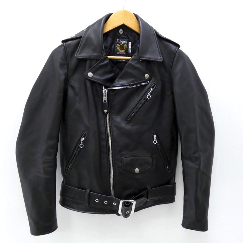 【中古】Schott/ショット レザーダブルライダースジャケット サイズ:34 カラー:ブラック / アメカジ【f093】