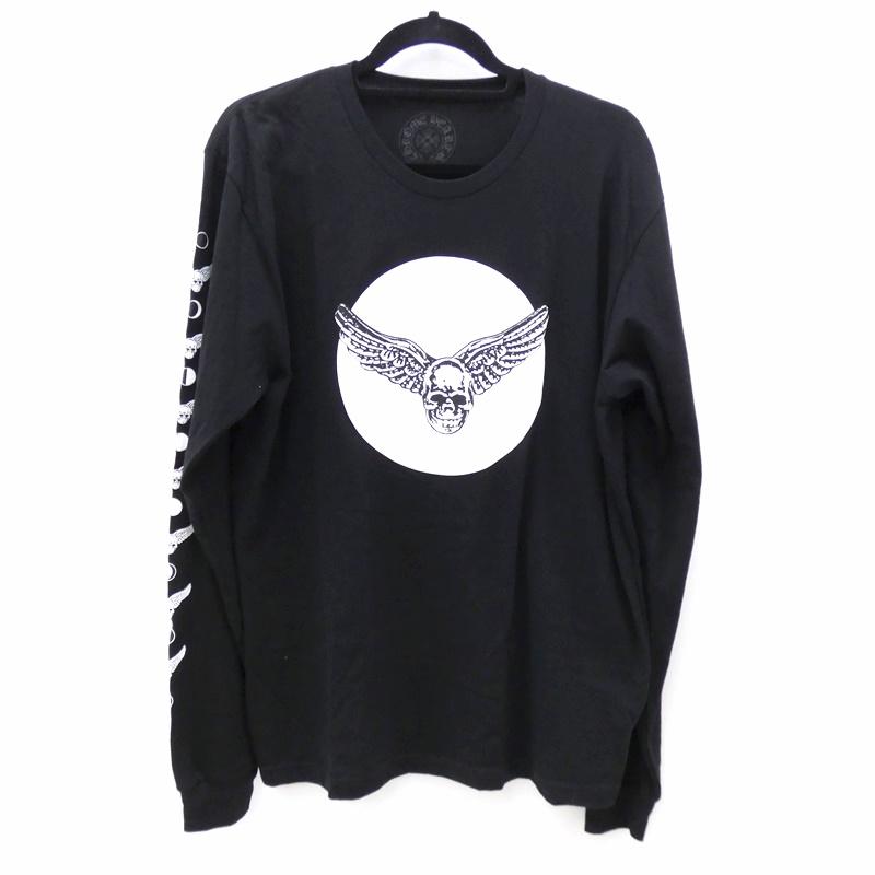 【中古】CHROME HEARTS/クロムハーツ 国内正規品 スカルウィング L/S Tシャツ サイズ:L カラー:ブラック【f108】