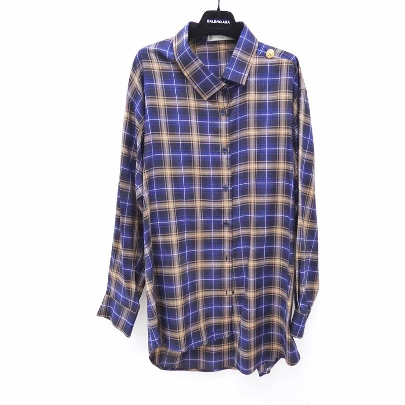 online store ee833 440c8 【中古】BALENCIAGA/バレンシアガ 503062 プルドシャツ L/Sチェックシャツ サイズ:34 カラー:マルチカラー【f135】|お宝市番館