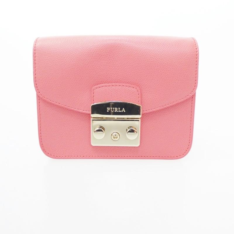 【中古】FURLA/フルラ メトロポリスミニ チェーンショルダーバッグ サイズ:- カラー:ピンク【f122】
