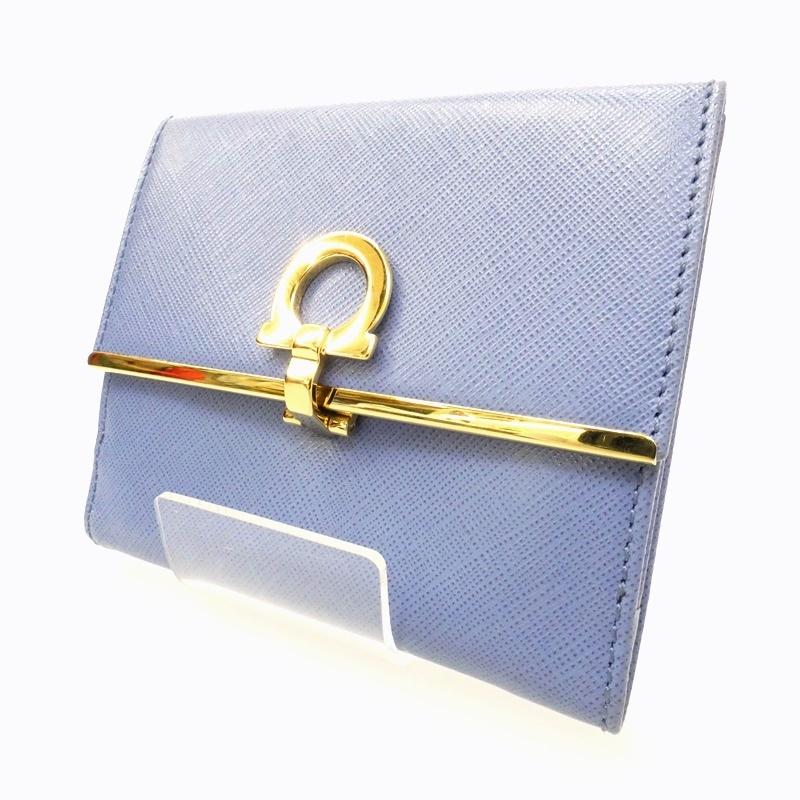 【中古】Salvatore Ferragamo/サルヴァトーレフェラガモ Wホック財布 サイズ:- カラー:ブルー系【f125】