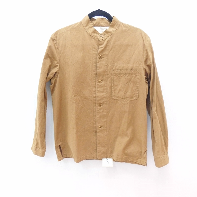 【中古】YAECA/ヤエカ 48303 スタンドカラージャケット リネンジャケット サイズ:M カラー:ブラウン / ドメス【f096】