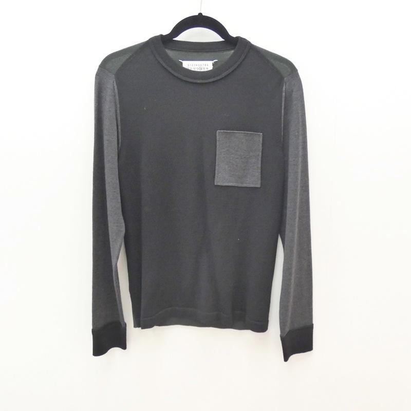 【中古】Maison Margiela/メゾンマルジェラ 2015A/W Contrast Colour knit Pulloverニット サイズ:S カラー:ブラック×グレー【f108】