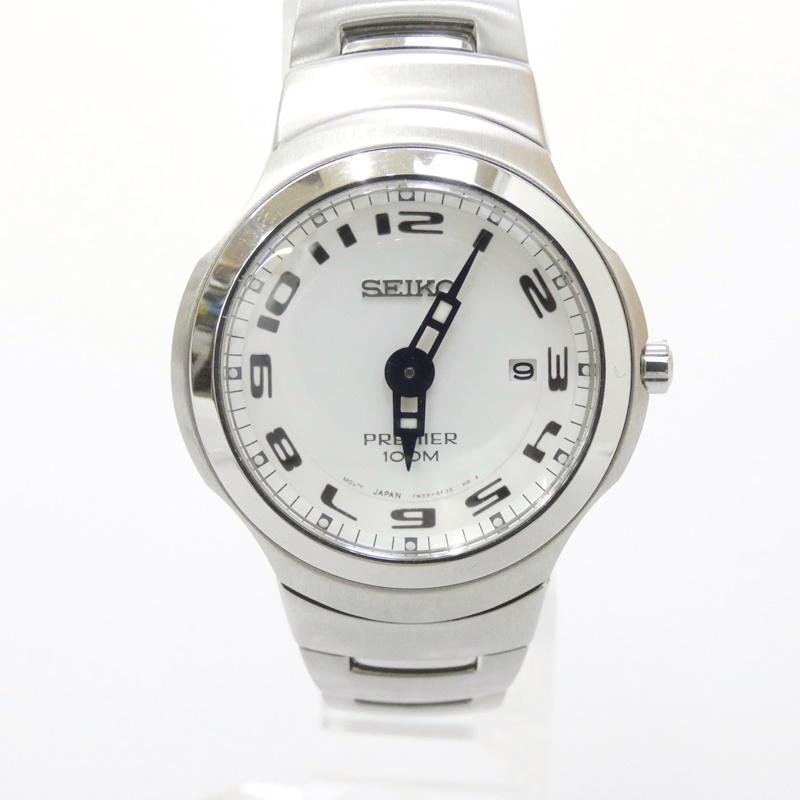 【中古】SEIKO/セイコー 腕時計 PREMIER プルミエ クォーツ ステンレススティールベルト サイズ:- カラー:ホワイト(文字盤)×シルバー(ベルト)【f131】